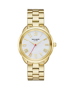 kate spade new york Crosstown Gold-Tone Bracelet Three-Hand Watch
