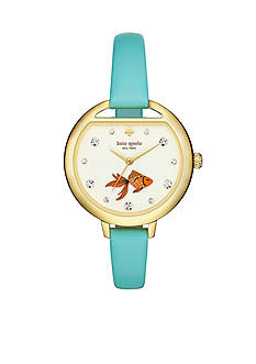 kate spade new york Metro Fish Bowl Mint Green Leather Three-Hand Watch