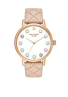 kate spade new york Metro Grand Quilted Vachetta Leather Strap Three-Hand Watch