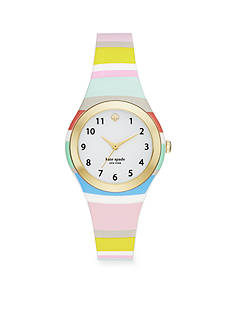 kate spade new york Women's Gold-Tone Rumsey Multi-Colored Striped Silicone Strap Three- Hand Watch