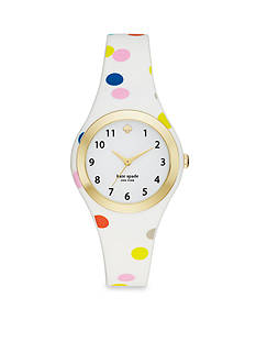 kate spade new york Women's Gold-Tone Rumsey Multi-Colored Polka Dot Silicone Three-Hand Watch