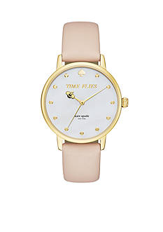 kate spade new york Metro 'Time Flies' Vachetta Leather Bracelet Three-Hand Watch