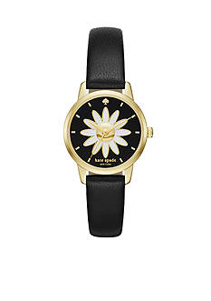 kate spade new york Mini Metro Black Leather Strap Three-Hand Watch