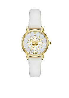 kate spade new york Mini Metro White Leather Three-Hand Watch