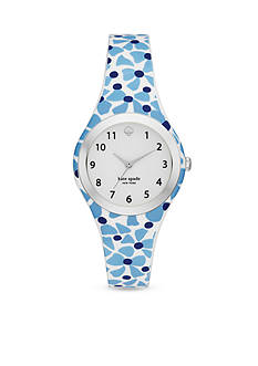 kate spade new york Women's Silver-Tone Rumsey Blue Floral Silicone Strap Three-Hand Watch