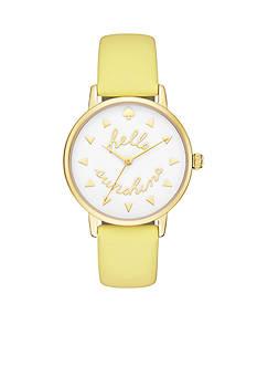 kate spade new york Metro 'Hello Sunshine' Leather Three-Hand Watch