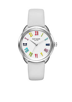 kate spade new york Crosstown White Leather Strap Three-Hand Watch