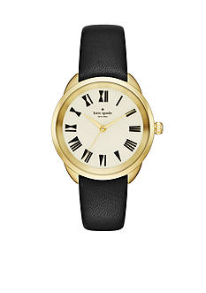 kate spade new york Crosstown Black Leather Strap Three-Hand Watch