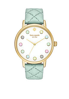 kate spade new york Metro Grand Quilted Mint Green Leather Strap Three-Hand Watch