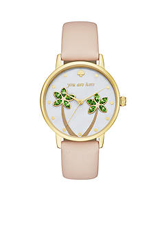 kate spade new york Women's Metro Light Brown Leather Strap Watch