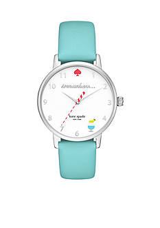 kate spade new york Metro '5 o'clock Somewhere' Leather Three-Hand Watch