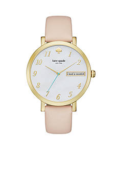 kate spade new york Monterey Novelty Vachetta Leather Three-Hand Watch