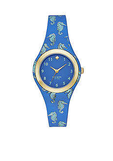 kate spade new york Women's Rumsey Seahorse Print Silicone Strap Watch