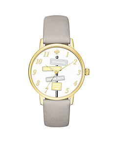 kate spade new york Women's Metro Novelty Grey Leather Watch