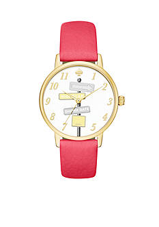 kate spade new york Women's Metro Pink Leather Watch