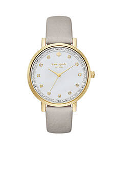kate spade new york Women's Monterrey Grey Leather Watch