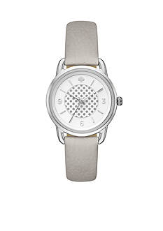 kate spade new york Women's Silver-Tone and Gray Leather Boathouse Watch