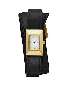 kate spade new york Women's Gold-Tone Kenmare Black Leather Watch