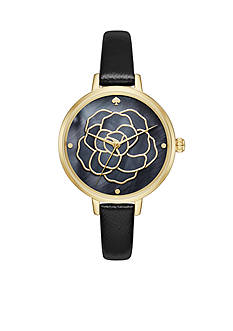 kate spade new york Women's Holland Gold-Tone and Black Rose Cutout Watch