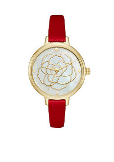 kate spade new york Women's Metro Red Leather Watch