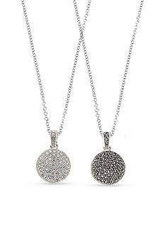 Judith Jack Reversible Pave Disc Pendant Necklace