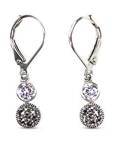 Judith Jack Cubic Zirconia and Marcasite Double Drop Earrings