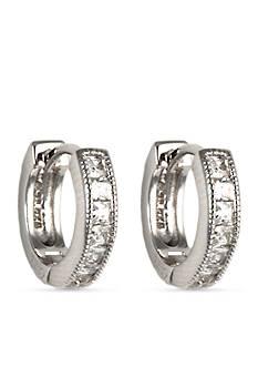 Judith Jack Sterling Silver Crystal Huggie Hoop Earrings