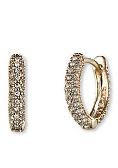 Judith Jack Gold-Tone Pave Huggie Hoop Earrings
