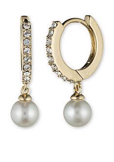 Judith Jack Gold-Plated Sterling Silver Pearl Drop Hoop Earrings
