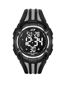 Skechers Men's Black and White Silicone Digital Watch
