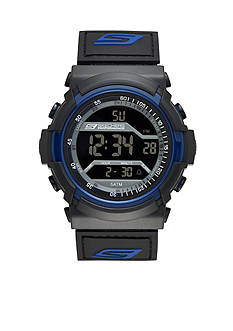 Skechers Men's Black and Blue Silicone Digital Watch