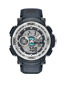 Skechers Men's Three-Hand Digital Chronograph Grey Strap Watch