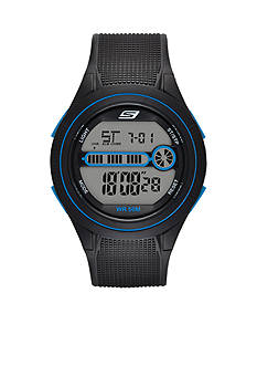 Skechers Men's Digital Chronograph Gray and Blue Strap Watch