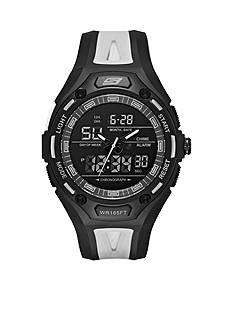 Skechers Men's Chronograph Black and Cool Gray Silicone Watch