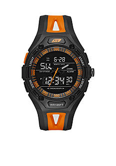 Skechers Men's Chronograph Black and Orange Silicone Watch