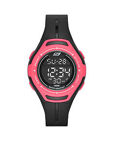 Skechers Women's Black and Pink Silicone Digital Watch