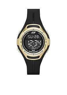 Skechers Women's Black and Gold-Tone Silicone Digital Watch