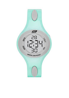 Skechers Women's Polliwog Digital Mint and Gray Strap Watch