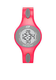 Skechers Women's Polliwog Digital Neon Pink and Gray Strap Watch