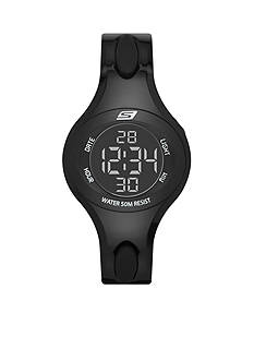 Skechers Women's Oval Black Silicone Digital Watch