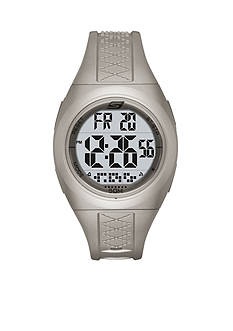 Skechers Women's Poinsettia Metallic Silver Silicone Strap Watch