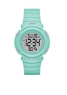Skechers Women's Fisher Digital Grey and Mint Strap Watch