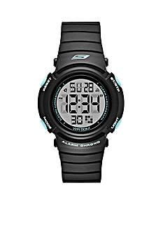 Skechers Women's Fisher Digital Black and Mint Strap Watch