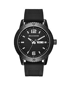 Skechers Men's Redondo Three-Hand Black Stainless Steel and Silicone Strap Watch