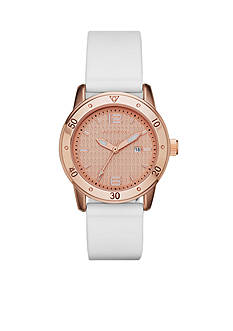 Skechers Women's Redondo Rose Gold-Tone Three-Hand White Silicone Strap Watch