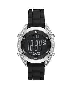 Skechers Women's Walnut Digital Chronograph Black Silicone Watch
