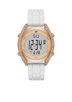 Skechers Women's Digital Chronograph White Silicone Watch
