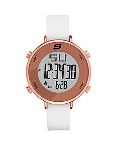 Skechers Women's Digital Chronograph Rose Gold-Tone and White Silicone Watch