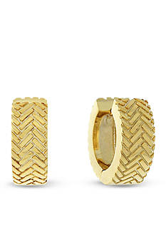Cole Haan Gold-Tone Basket Weave Huggie Hoop Earrings