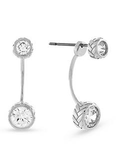 Cole Haan Silver-Tone Cubic Zirconia Front and Back Earrings